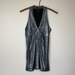 INC International Concepts Silver Beaded Top S EUC